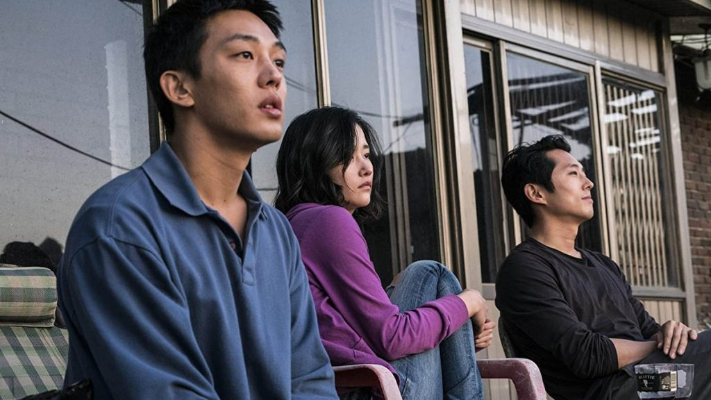 Yoo Ah-In, Steven Yeun dan Jun Jong-Seo dalam Burning (2018)