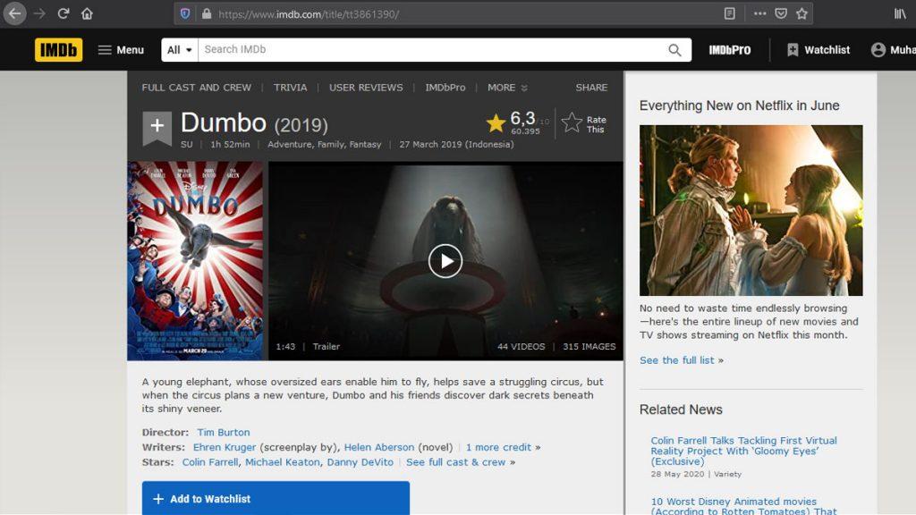 Menyelisik Tiga Jejaring Penilai Film: IMDb, Rotten Tomatoes dan Metacritic - Nilai Film Dumbo di IMDb